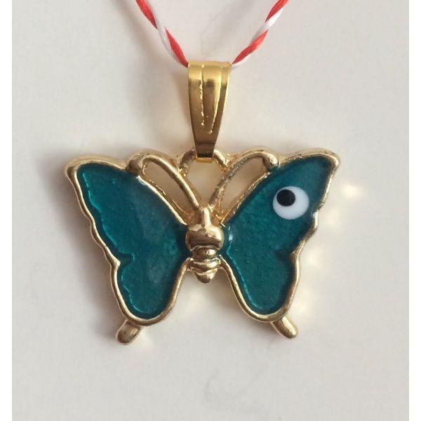 Martisoare fluture auriu cu email verde