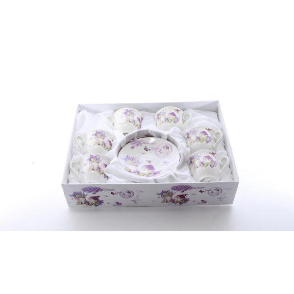Set 6 cescute cu farfurioara lavender A36-25