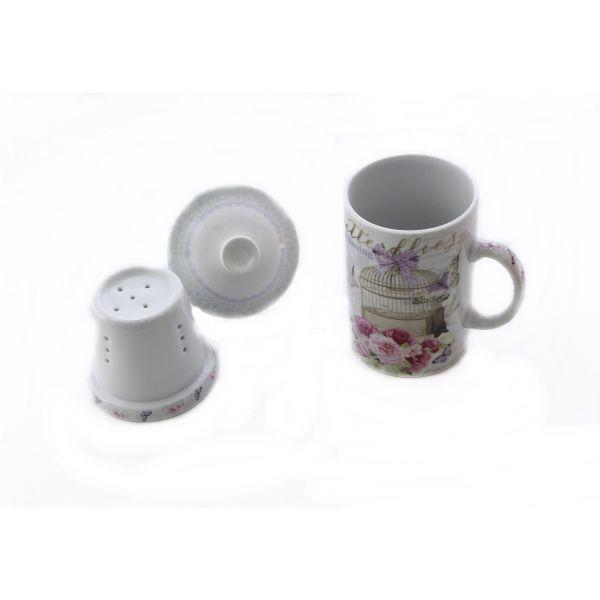 Cana cu infuzor ceramic Butterflies