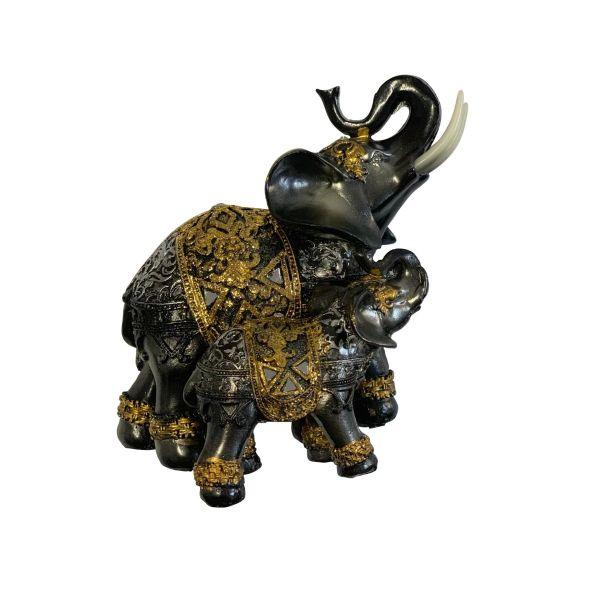 Bibelou 2 elefanti rasina negru A45-22