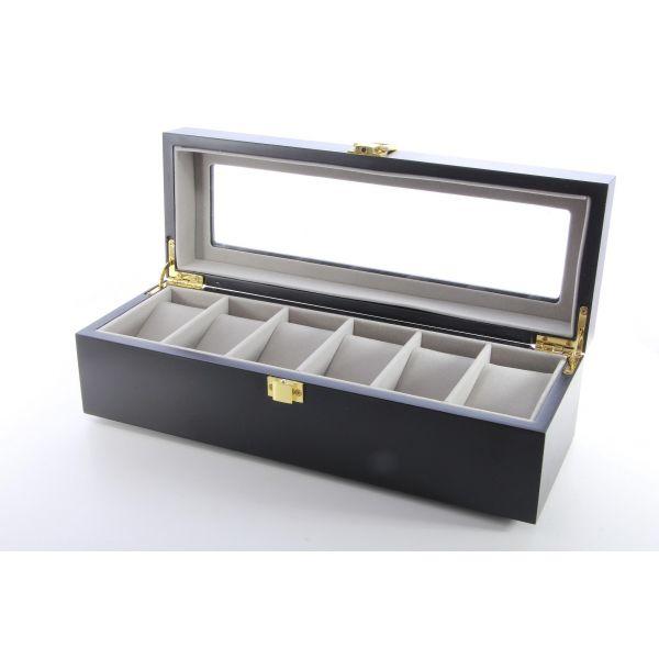 Cutie pentru ceasuri din lemn negru A59-09