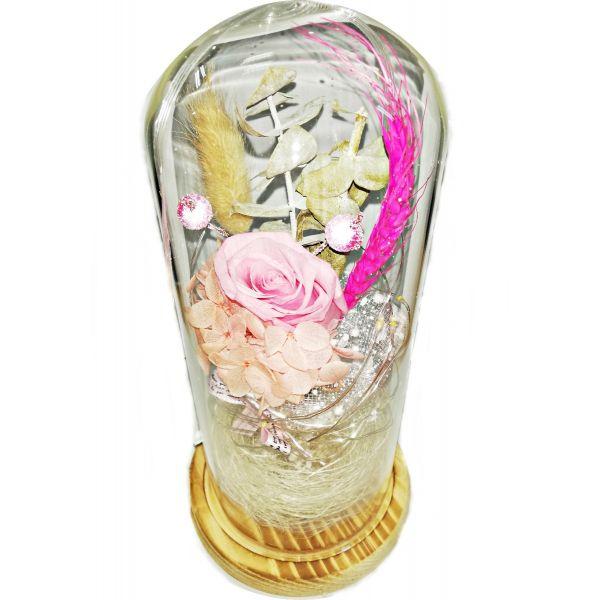 Trandafir natural criogenat roz cu lumina C05-02