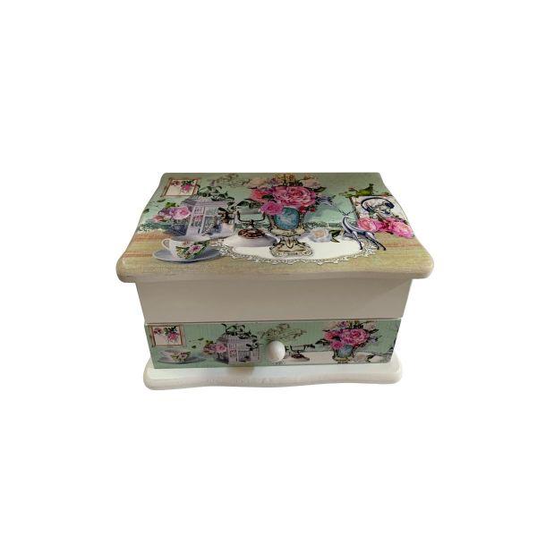 Caseta de bijuterii lemn cu imprimeu floral C10-08