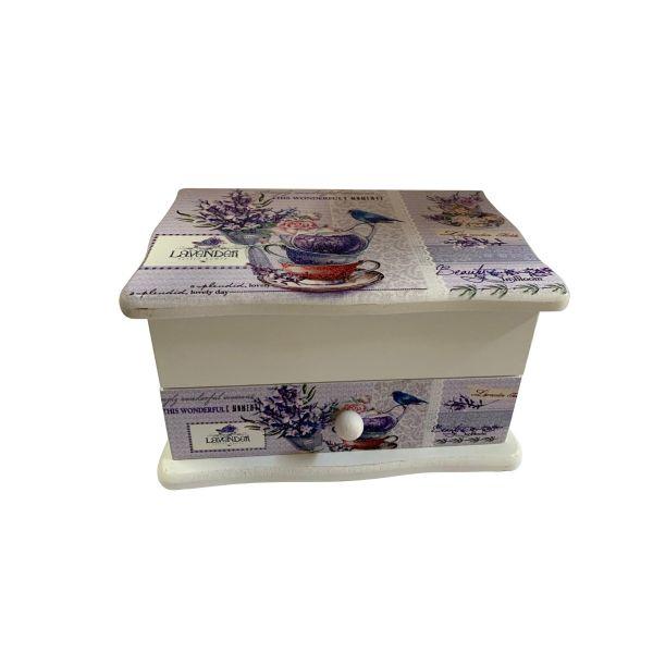 Caseta de bijuterii lemn imprimeu levantica C10-09