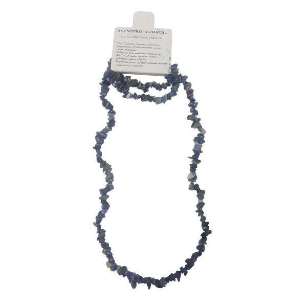 Set colier cu bratara pietre norocoase aventurin albastru C21-16