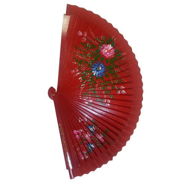 Evantai din lemn cu imprimeu floral D51-02