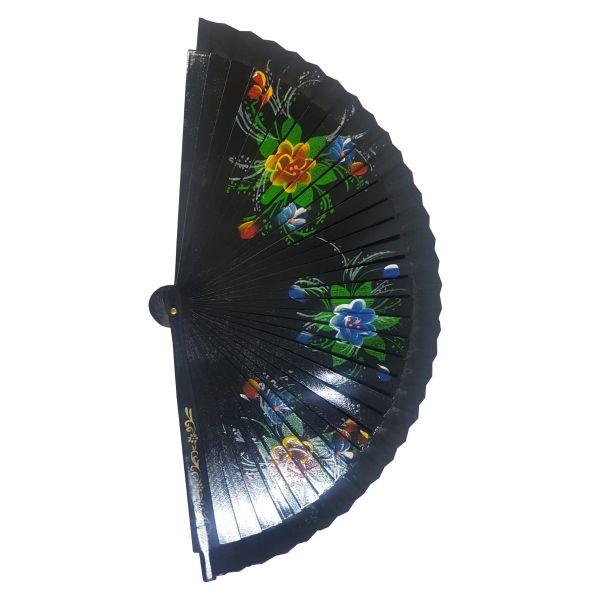 Evantai din lemn cu imprimeu floral D51-03