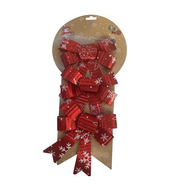 Set 3 funde cadouri de Craciun rosu E08-11