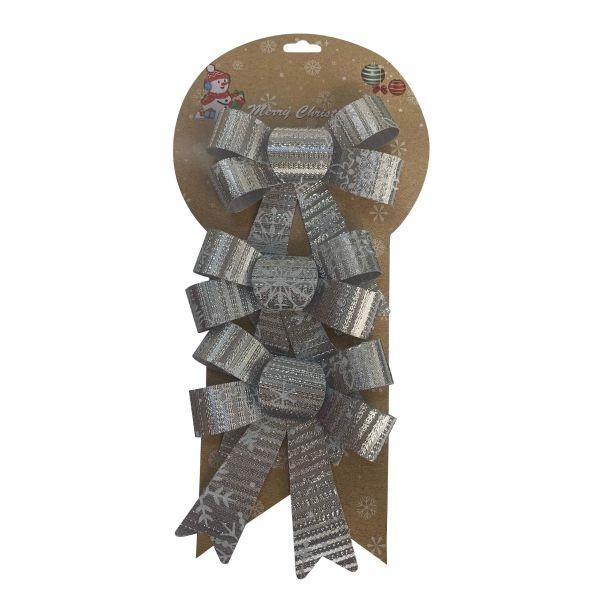 Set 3 funde cadouri de Craciun argintiu E08-12