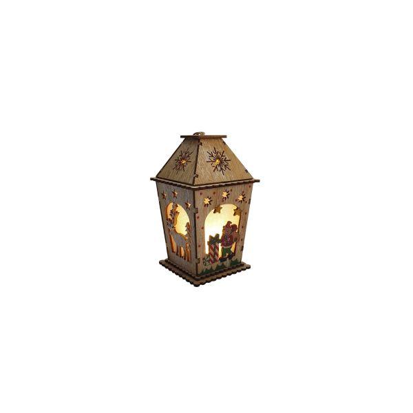Casuta lemn Craciun cu luminite E11-01