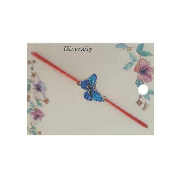 Martisor bratara fluture email albastru, elastic rosu, Cadouridiversity