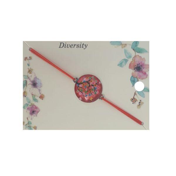 Martisor bratara copac abstract, elastic rosu, Cadouridiversity