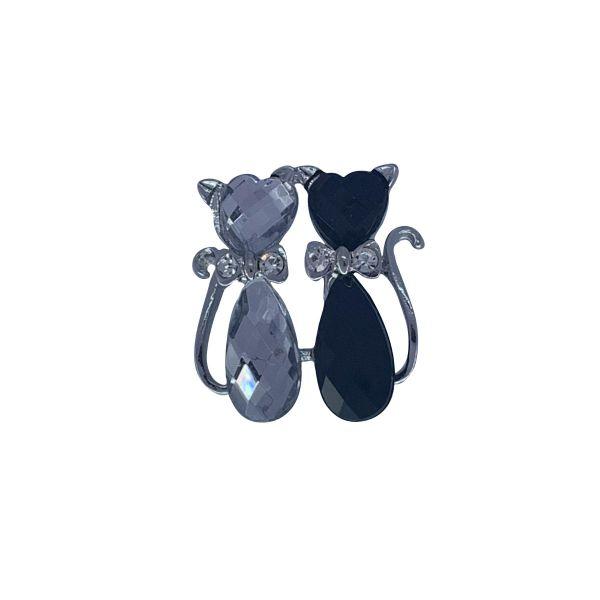 Brosa martisor 2 pisici cu pietricele F03-12