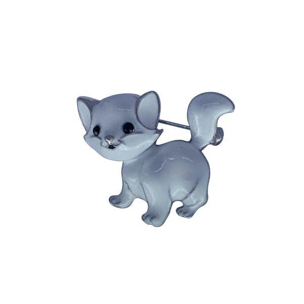 Brosa pisica cu email alb F03-35