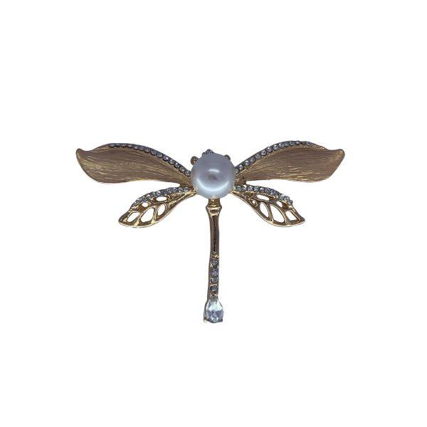 Brosa libelula cu perla F04-20