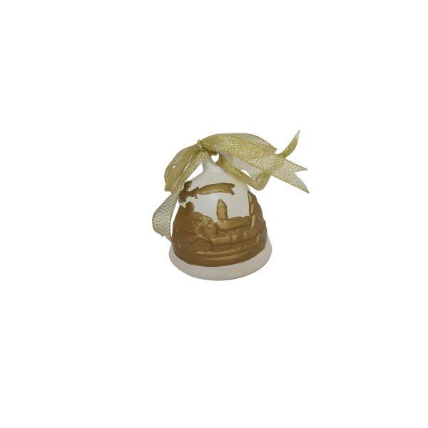 Clopotel ceramic Craciun auriu G01-05
