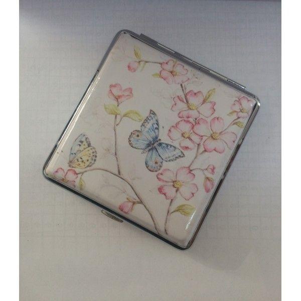 Tabachera cu imprimeu floral si fluturi